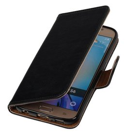 Lelycase Zwart vintage lederlook bookcase voor de Samsung Galaxy S6 hoesje
