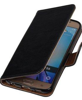 Zwart vintage lederlook bookcase voor de Samsung Galaxy S6 hoesje