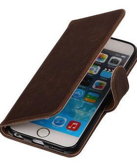 Mocca vintage lederlook bookcase voor de iPhone 6 / 6s wallet hoesje