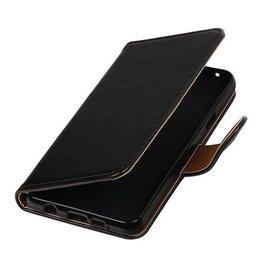 Lelycase Zwart vintage lederlook bookcase voor de Samsung Galaxy A3 (2016) wallet hoesje