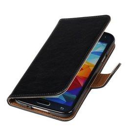 Lelycase Zwart vintage lederlook bookcase voor de Samsung Galaxy S5 wallet hoesje