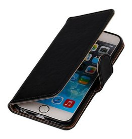 Lelycase Zwart vintage lederlook bookcase voor de iPhone 6 Plus / 6s Plus wallet hoesje