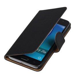 Lelycase Zwart bookcase voor Samsung Galaxy J1 2016 wallet cover hoesje