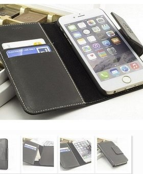e-Case Leather Bookcase Wallet iPhone 6 Zwart