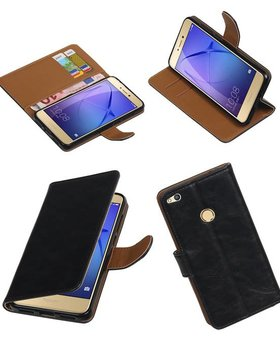 Lelycase Zwart vintage lederlook bookcase voor de Huawei P8 Lite 2017 wallet hoesje