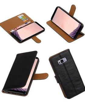 Lelycase Zwart vintage lederlook bookcase wallet hoesje voor Samsung Galaxy S8
