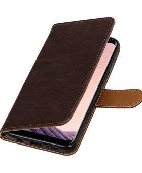 Lelycase Donkerbruin vintage lederlook bookcase wallet hoesje voor Samsung Galaxy S8
