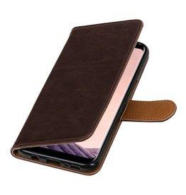 Lelycase Donkerbruin vintage lederlook bookcase wallet hoesje voor Samsung Galaxy S8 Plus