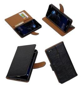 Lelycase Zwart vintage lederlook bookcase wallet hoesje voor Huawei P10 Lite