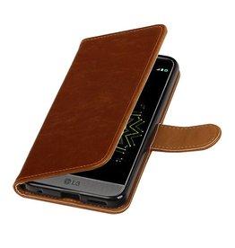 Lelycase Bruin vintage lederlook bookcase wallet hoesje voor LG G6