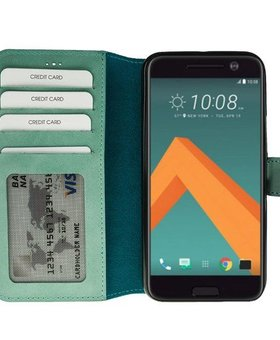 MP Case MP Case echt leer bookcase HTC 10 gebrand turquoise