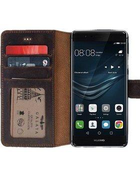 Galata Galata echt leer book case Huawei P9 Antiek Bruin
