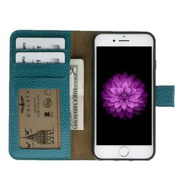 Galata Galata echt leer wallet case 2-in-1 voor iPhone 7 Turquoise