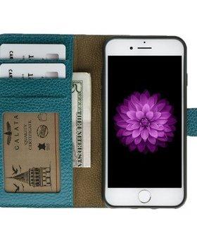 Galata Galata echt leer wallet case 2-in-1 voor iPhone 7 Turquoise