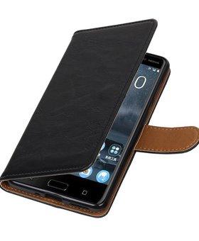 Lelycase Nokia 5 hoesje book case vintage lederlook zwart
