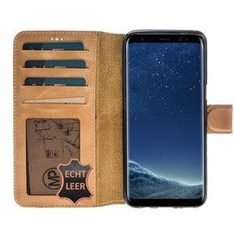 MP Case MP Case Samsung Galaxy S8 Plus echt leer bookcase washed bruin
