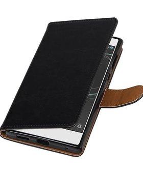 Lelycase Sony Xperia L1 hoesje book case vintage lederlook zwart