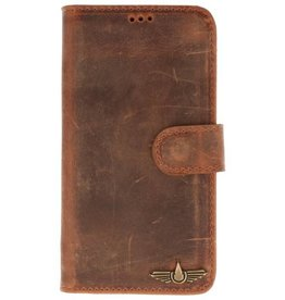 Galata Book case iPhone X echt leer vintage roestbruin