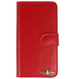 Galata Book case iPhone X cover echt leer rood
