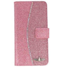 Galata Glitter bookcase Samsung Galaxy J3 (2017) roze