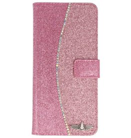 Galata Glitter bookcase Samsung Galaxy S8 Plus roze