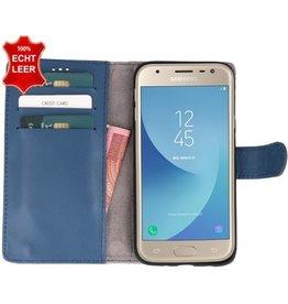 Galata Galata Slim Book case Samsung Galaxy J3 (2017) echt leer LeiBlauw