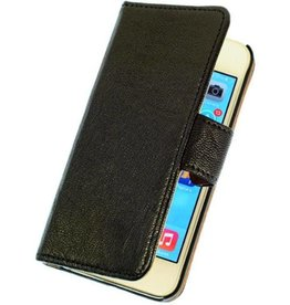 Lelycase LELYCASE Echt Leer Booktype Apple iPhone 5 5S Zwart