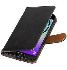 Lelycase Zwart vintage lederlook bookcase wallet hoesje voor de Samsung Galaxy A5 (2017)