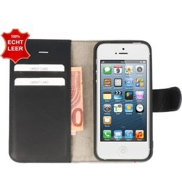 Galata Galata Effen Book case Apple iPhone 5 / 5s / SE echt leer Zwart