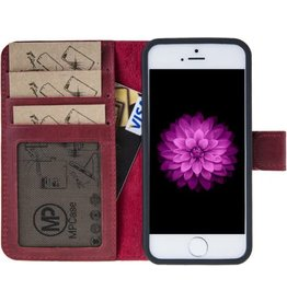 MP Case MP Case echt leer bookcase iPhone 5 / 5s / SE rood