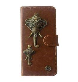 MP Case Mystiek bookcase Samsung Galaxy S9 PU Leder bruin Olifant