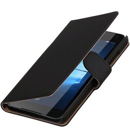 Lelycase Zwart bookcase voor Microsoft Lumia 650 wallet cover hoesje