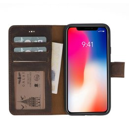 Galata Echte lederen book wallet ID iPhone X antiek bruin