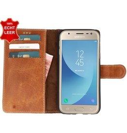 Galata Slim Book case Samsung Galaxy J3 (2017) echt leer Roestbruin