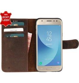 Galata Slim Book case Samsung Galaxy J3 (2017) echt leer Antiek Bruin