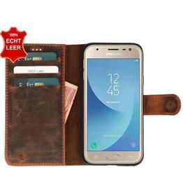 Galata Slim Book case Samsung Galaxy J3 (2017) echt leer Vintage Roestbruin