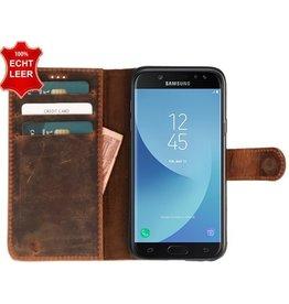 Galata Slim Book case Samsung Galaxy J5 (2017) echt leer Roestbruin