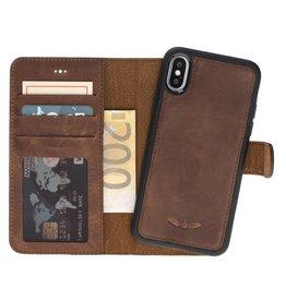 Galata Echte leer 2in1 wallet iPhone Xs / X antiek bruin
