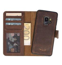 Galata Echt leer 2in 1 Samsung Galaxy S9 bookcase Antiek bruin