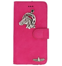 Galata Mystiek echt leer iPhone X bookcase suède fuchsia paard