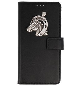 MP Case Samsung Galaxy A8 2018 bookcase paard zilver