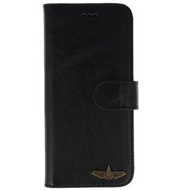 Galata Book case Samsung Galaxy A8 (2018) echt leer zwart