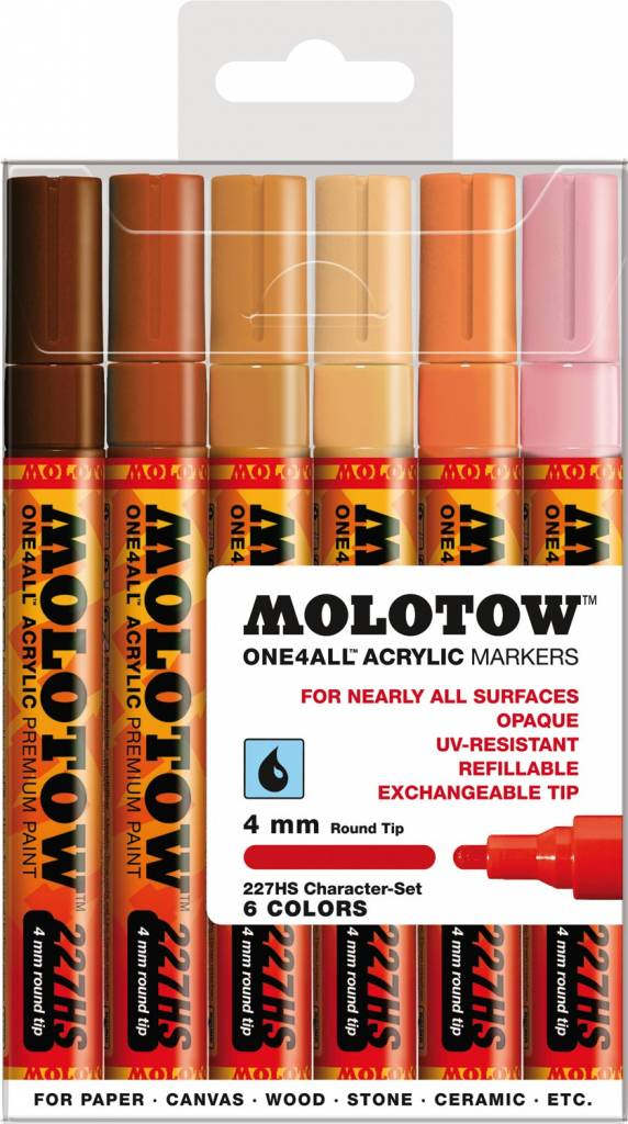 Molotow ONE4ALL 227HS Marker 6er Character-Set