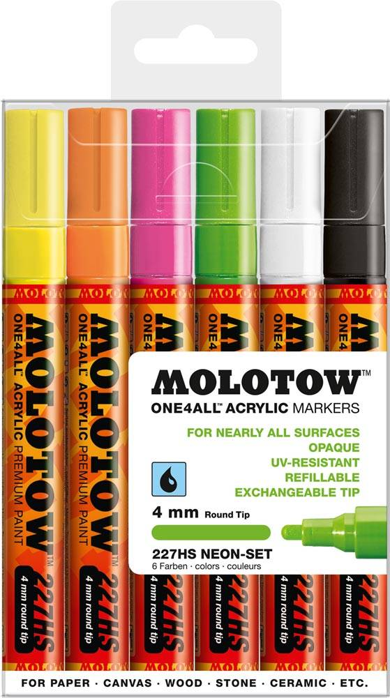 Molotow ONE4ALL 227HS Marker 6er Neon-Set