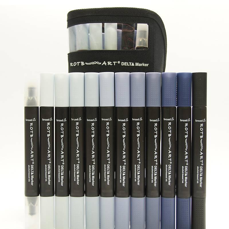 Delta Marker 12er Set Cool Grey Colors inkl. Tasche