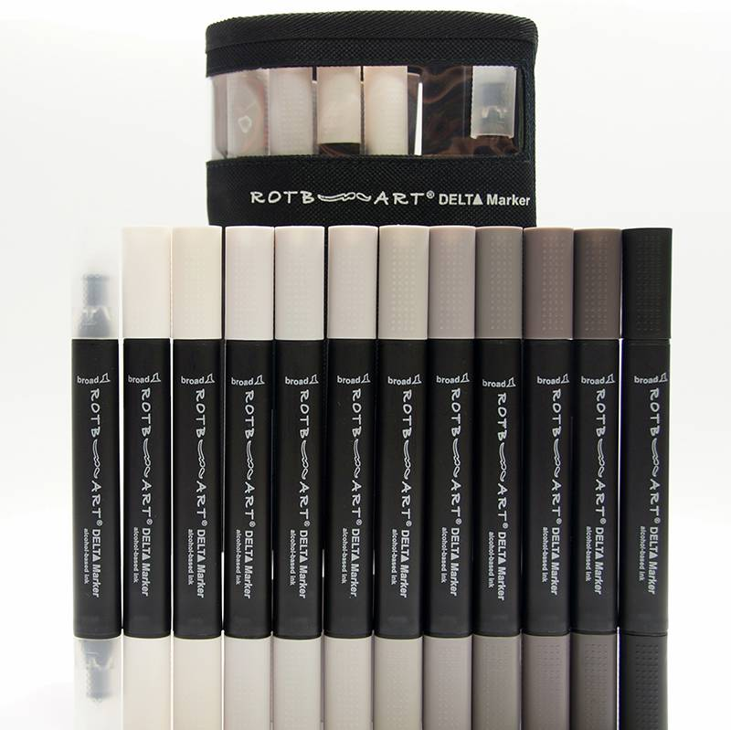 Delta Marker 12er Set Warm Grey Colors inkl. Tasche