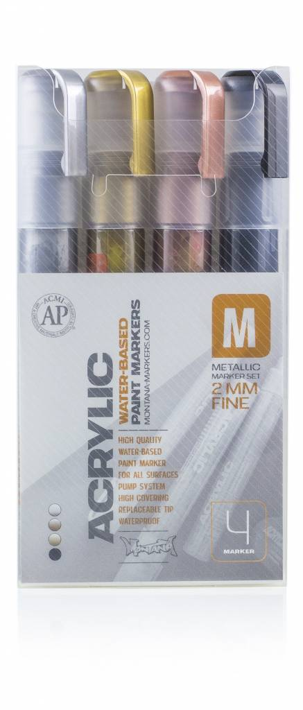 Montana ACRYLIC MARKER SET 2mm 4er Fine Metallic
