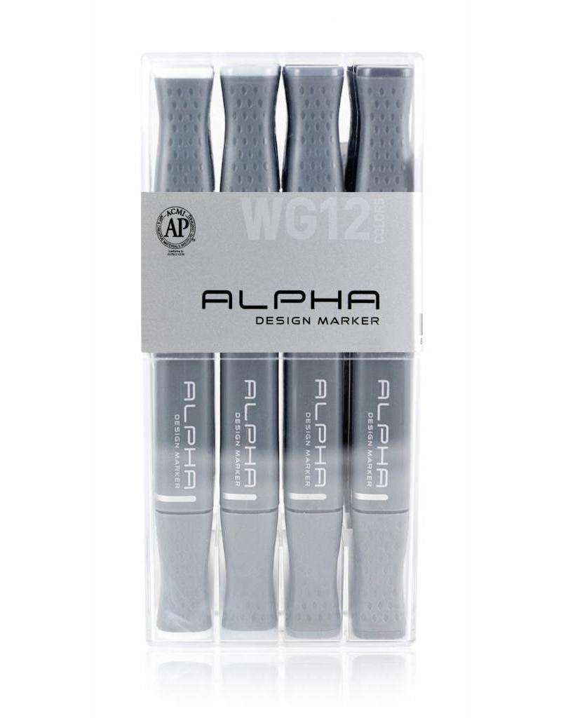 Alpha DESIGN MARKER 12er Warm Grey Set