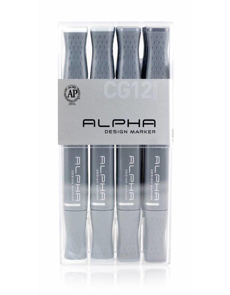 Alpha DESIGN MARKER 12er Cool Grey Set