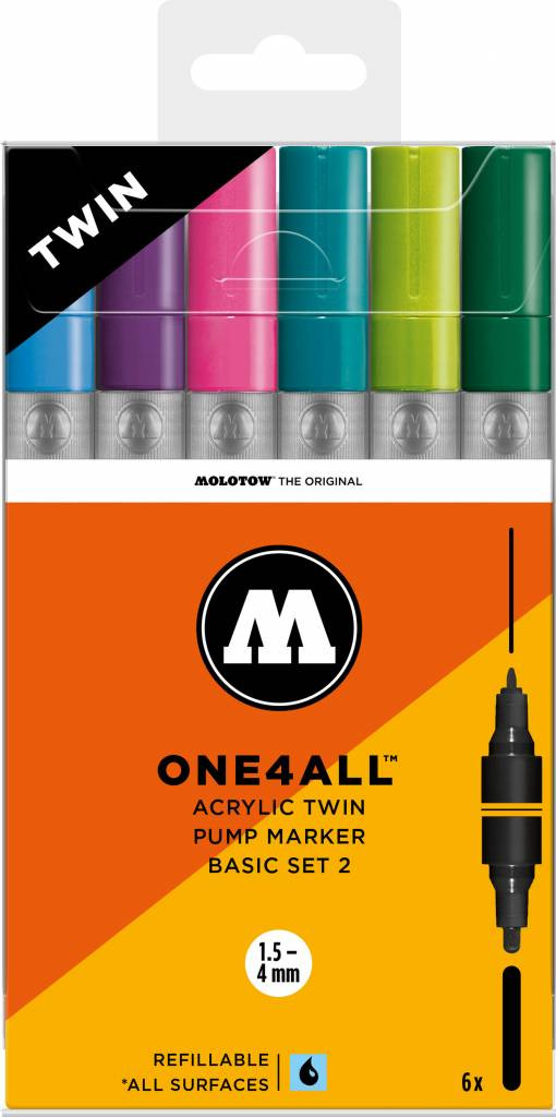 Molotow ONE4ALL Acrylic Twin 1,5/4mm Basic-Set 2